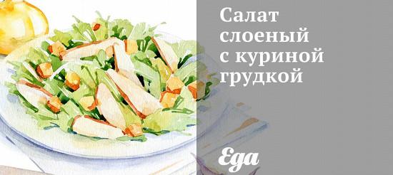 Салат листковий з курячою грудкою – рецепт