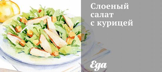 Листковий салат з куркою – рецепт